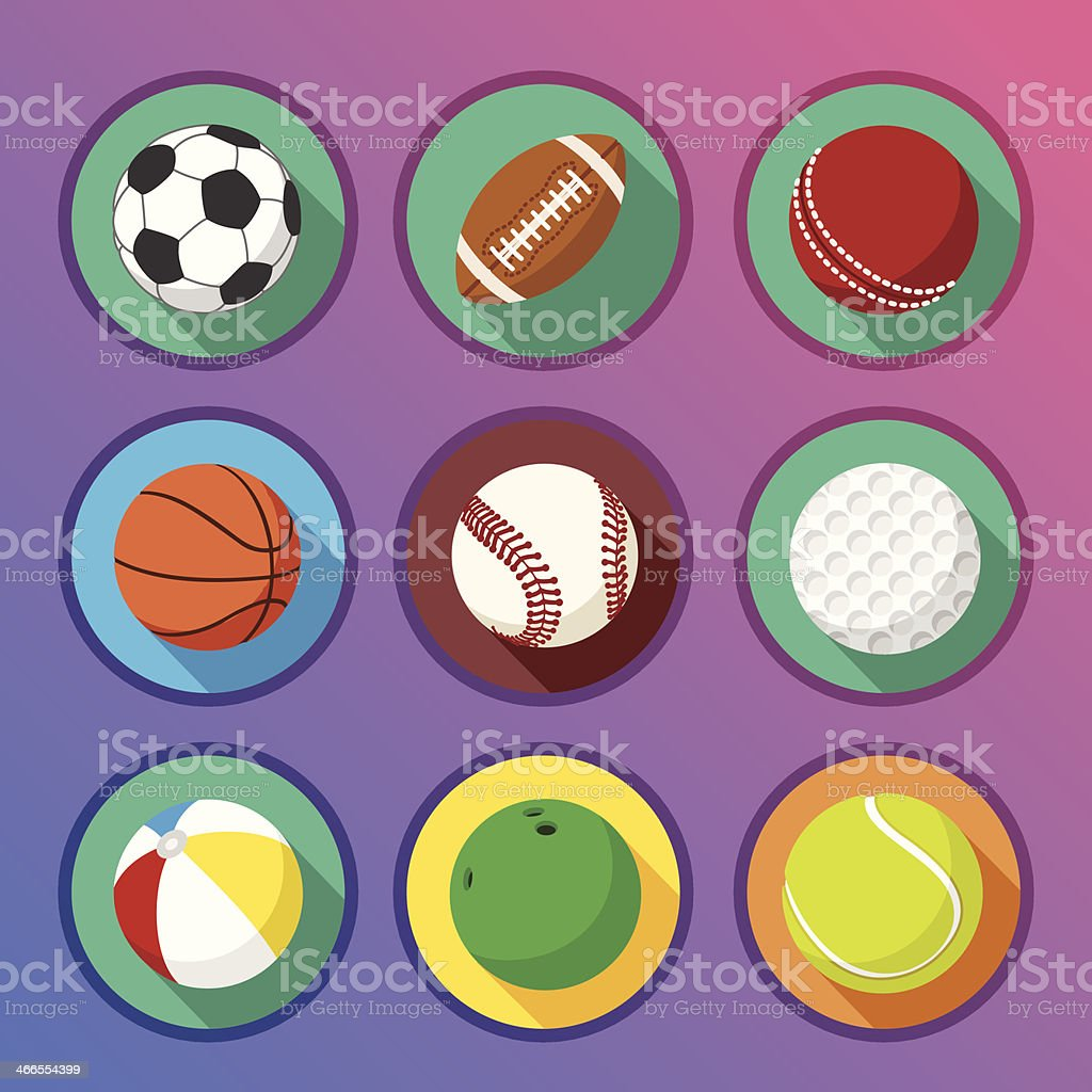 Flat and round sport icons vector art illustration