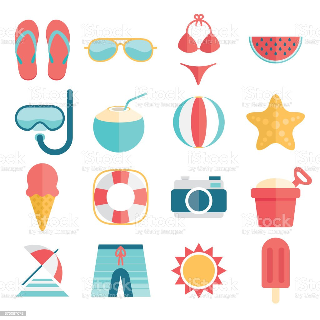 flat and simple summer vacation icon set vector art illustration