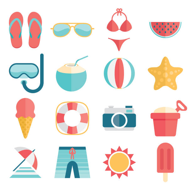 flat and simple summer vacation icon set - beach stock illustrations