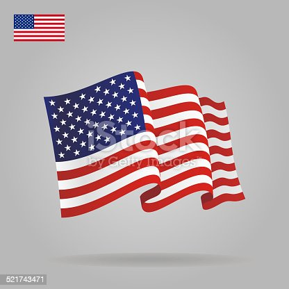 Flat and waving American Flag.
