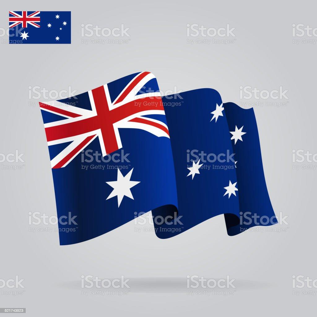 フラットと手を振るオーストラリア国旗。 ベクターアートイラスト