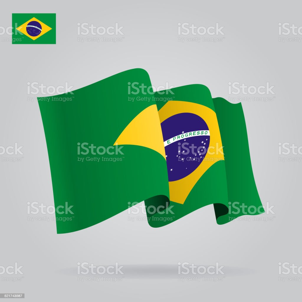 Flat and waving Brazilian Flag. Vector vector art illustration