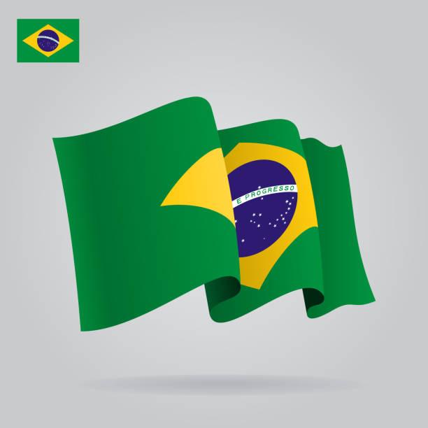 Plat et agitant drapeau brésilien.  Illustration - Illustration vectorielle