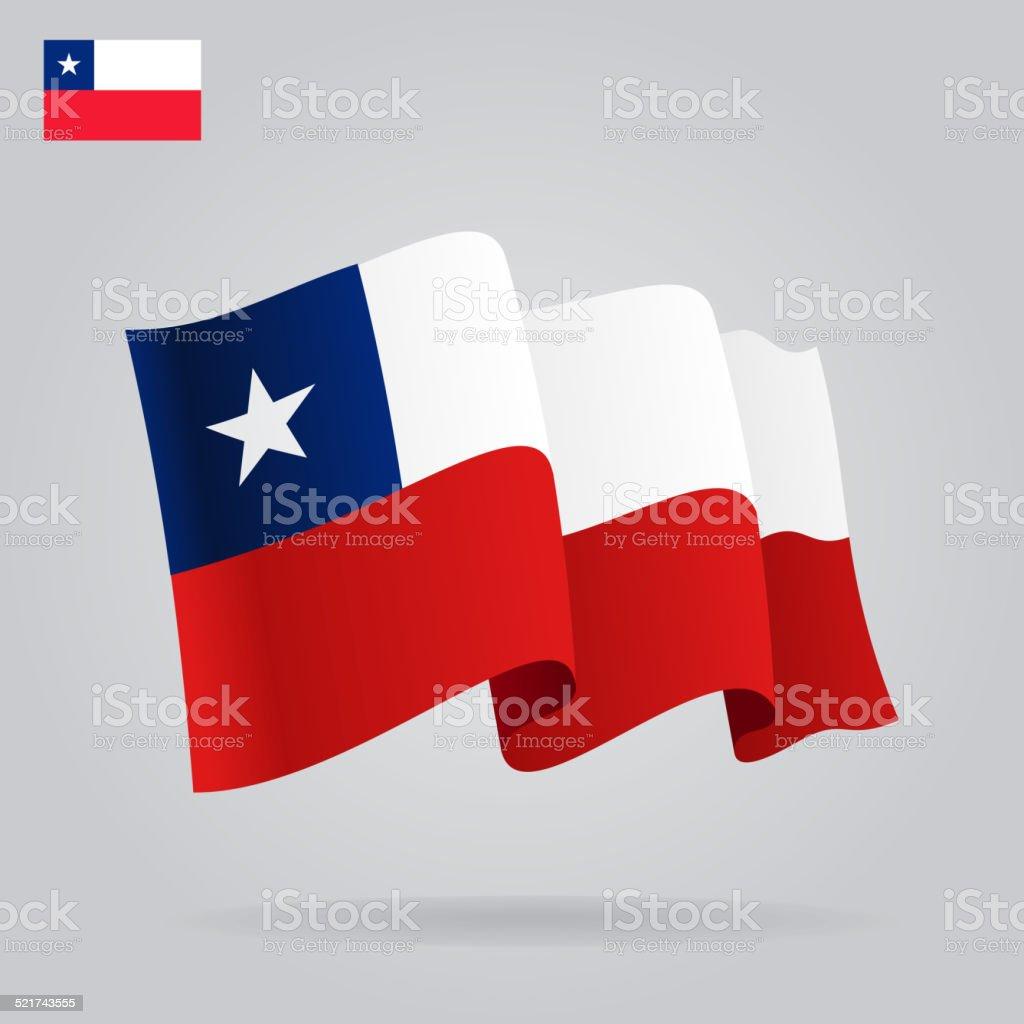 Plano y agitando Chile bandera. - ilustración de arte vectorial