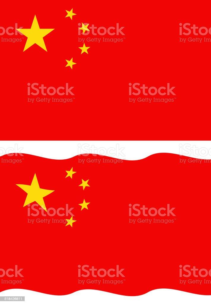 Flat and waving Chinese Flag vector art illustration