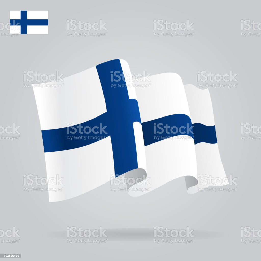 Flat and waving Finnish Flag. Vector vector art illustration