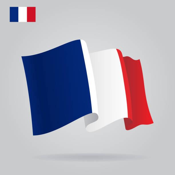 フラットとフランスの旗を振る。 ベクターアートイラスト