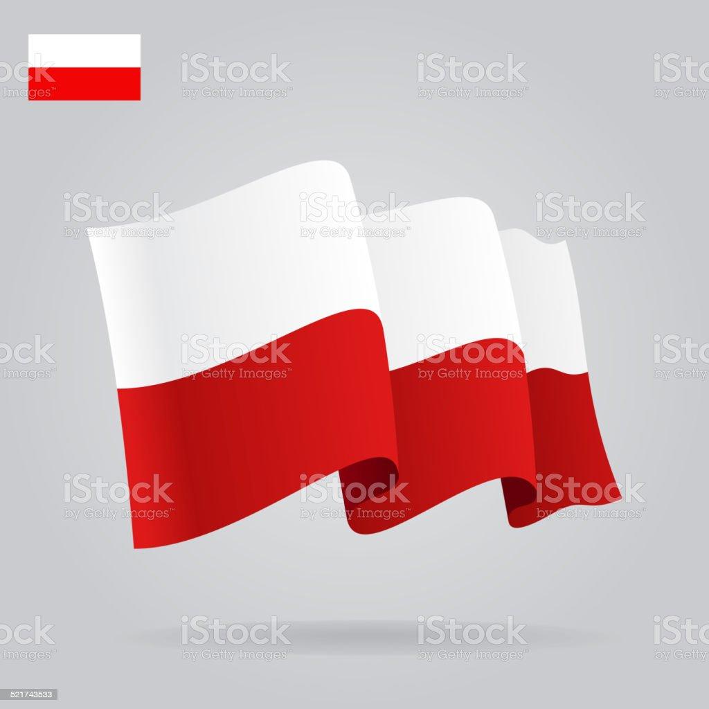 Plano y agitando bandera polaca. - ilustración de arte vectorial
