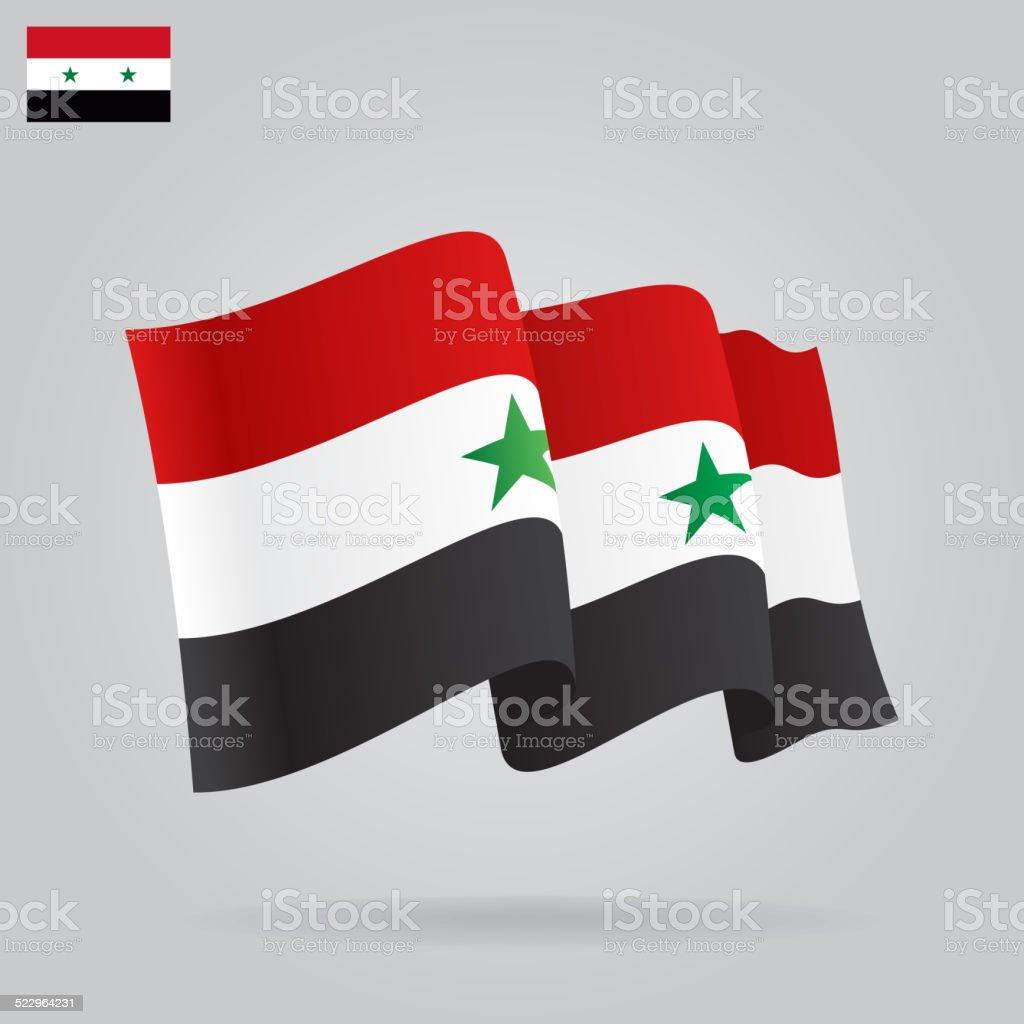 Flache Und Winken Syrische Flagge. Vektor   Lizenzfreies Vektor Illustration
