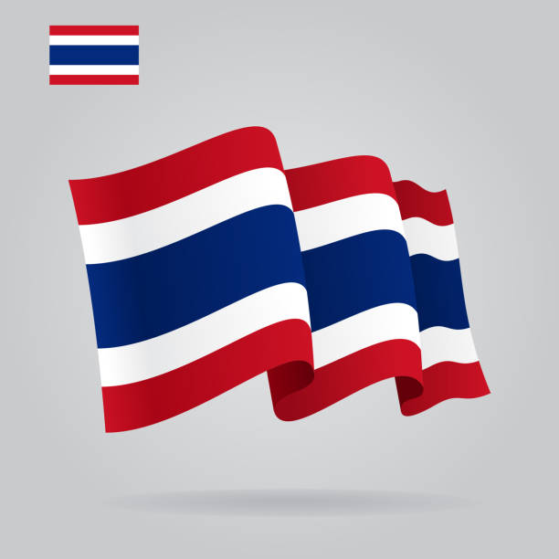 flat and waving thai flag. vector - thai flag stock illustrations, clip art, cartoons, & icons