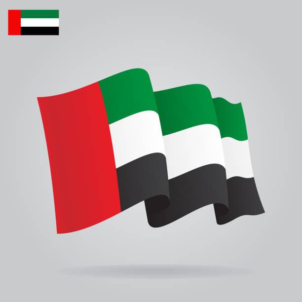 flat and waving united arab emirates flag. vector - uae flag 幅插畫檔、美工圖案、卡通及圖標