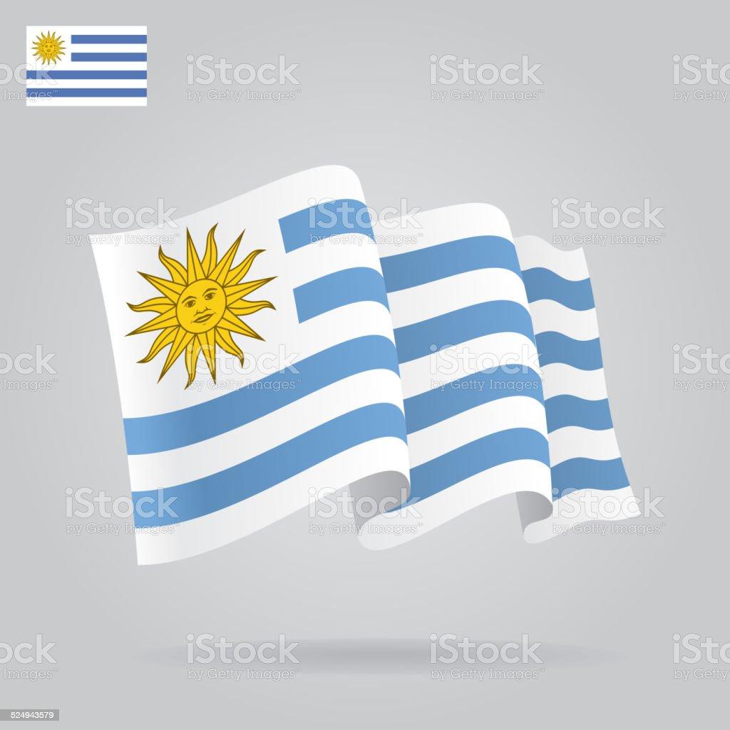 Plano y agitando uruguayo bandera. Vector - ilustración de arte vectorial