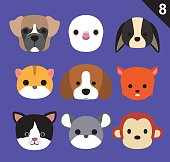 Flat Animal Faces Icon Cartoon Vector Set 8 (Pet)