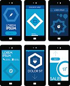 Collection of trend flat design application web, ui, ux mobile templates.