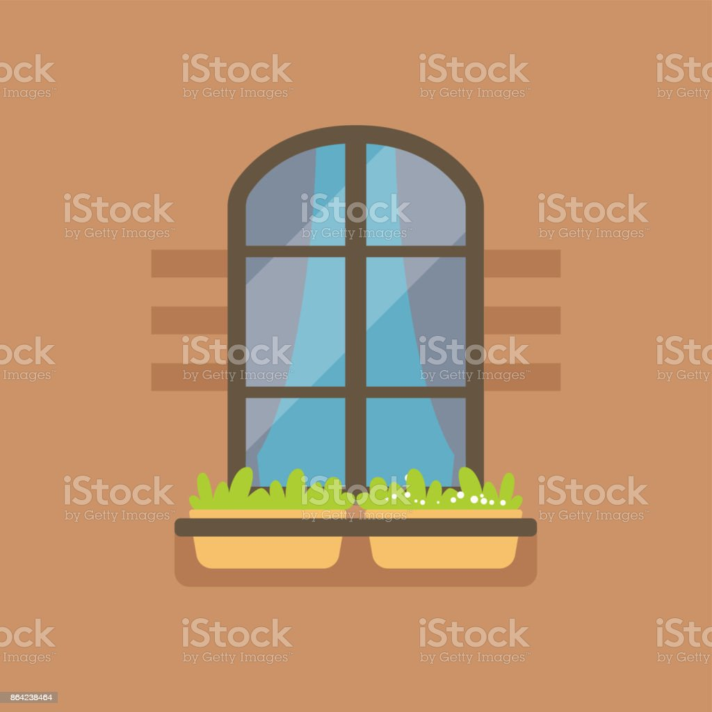 Flat arched window and potted flowers royalty-free flat arched window and potted flowers stock vector art & more images of art