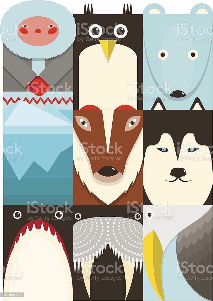 Flat Arctic and North Pole Symbols Set royalty-free stock vector art