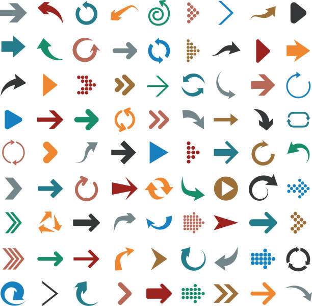 Flat arrow icons vector art illustration