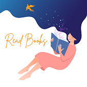 Vector illustration of girl reading a book and dreaming up. Concept illustration of learning, distance studying and self education.