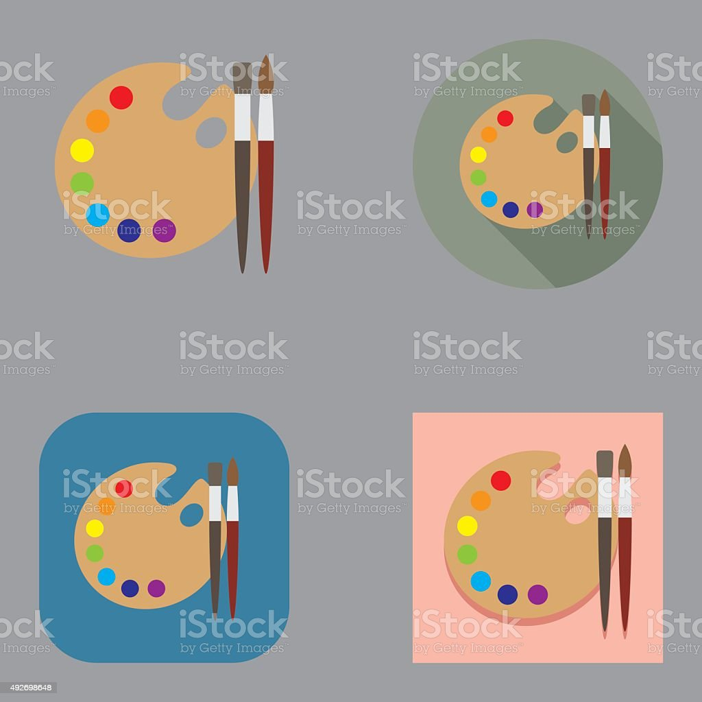 Flat Art Brushes and Palette icons | Kalaful series vector art illustration