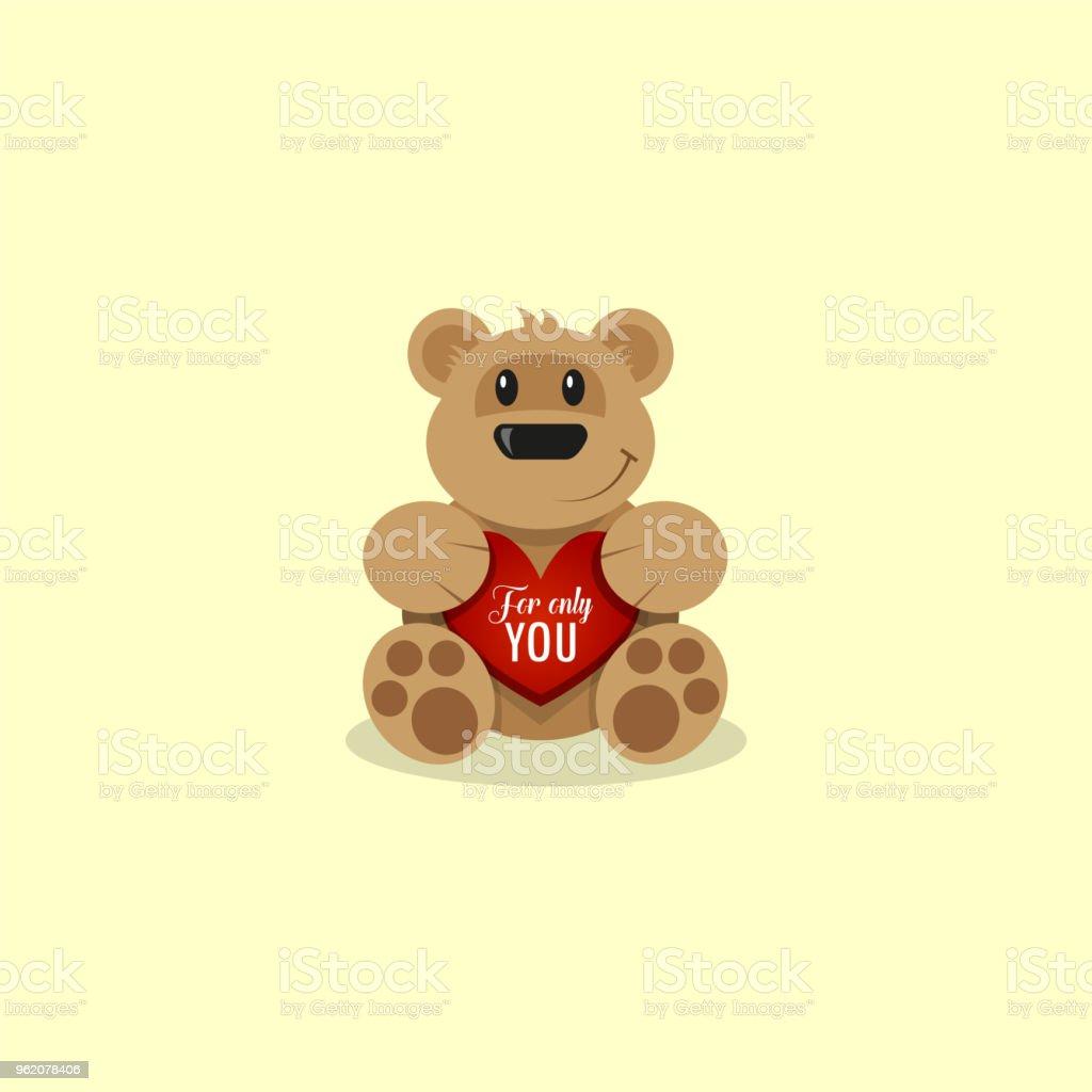 flat art cartoon illustration of a teddy bear with a red heart stock
