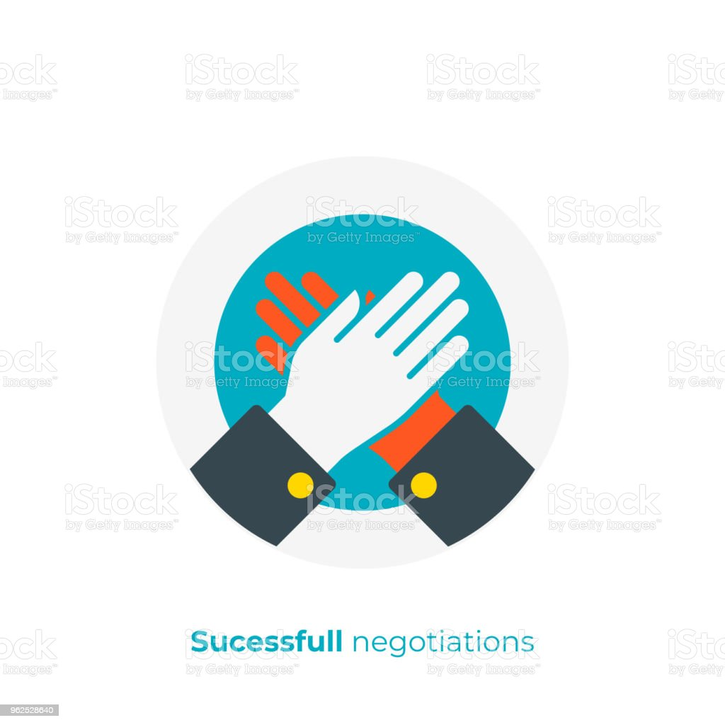 flat art high five. Rised hands slap. Team building. Scalable vector icon in modern flat style. cartoon elements vector illustration. - Royalty-free Achievement stock vector