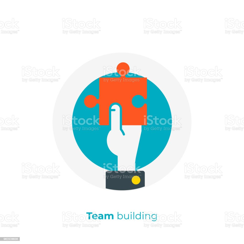 flat art puzzle piece in a hand. Business solution. Team building. Scalable vector icon in modern flat style. cartoon elements vector illustration. - Royalty-free Art And Craft stock vector