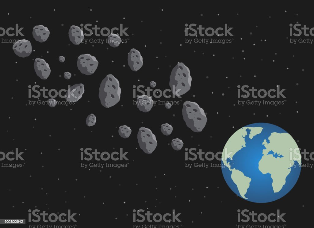 Flat asteroids and planet Earth. Space danger. Space illustration. vector art illustration