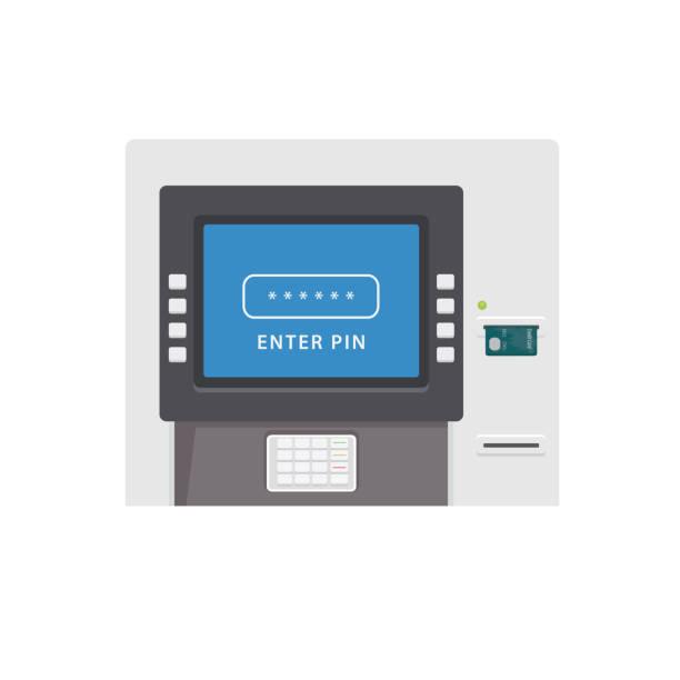 flache atm maschine abbildung. automated teller machine - geldautomat stock-grafiken, -clipart, -cartoons und -symbole