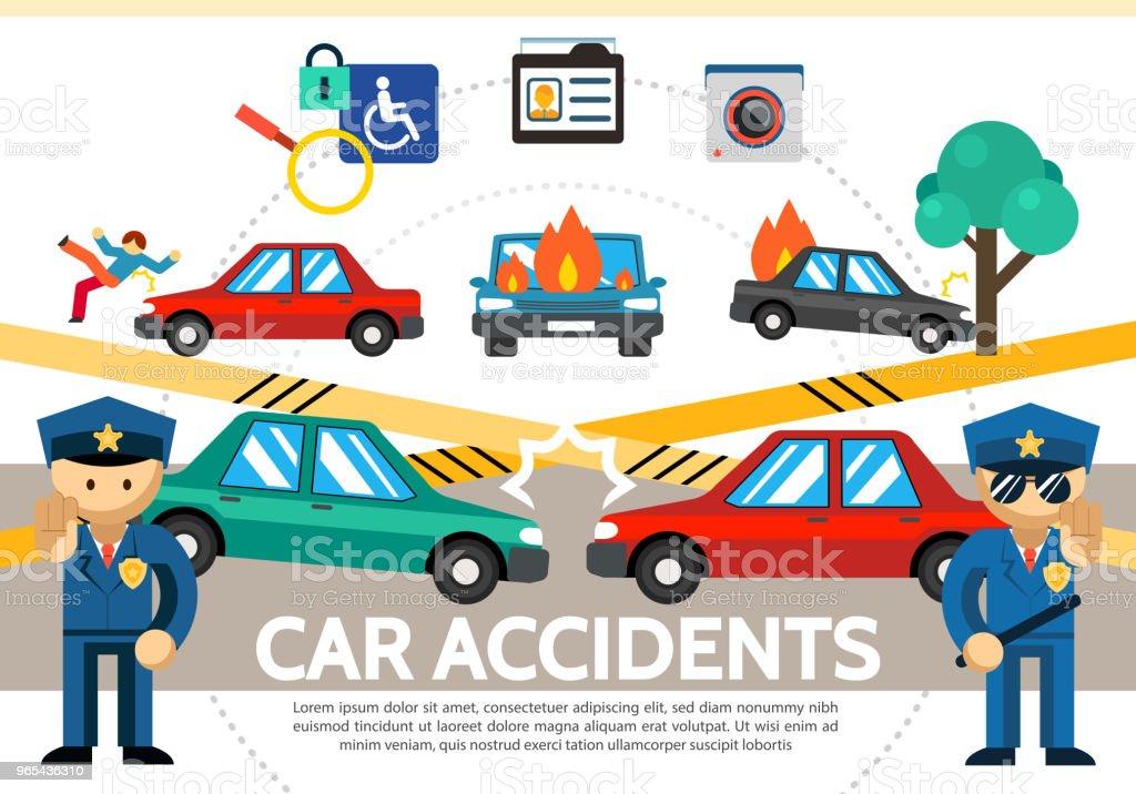 Flat Auto Accident Concept flat auto accident concept - stockowe grafiki wektorowe i więcej obrazów aparat fotograficzny royalty-free