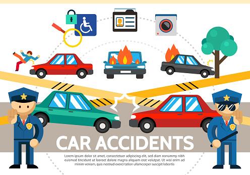 평면 자동차 사고 개념 가정용 캠코더에 대한 스톡 벡터 아트 및 기타 이미지