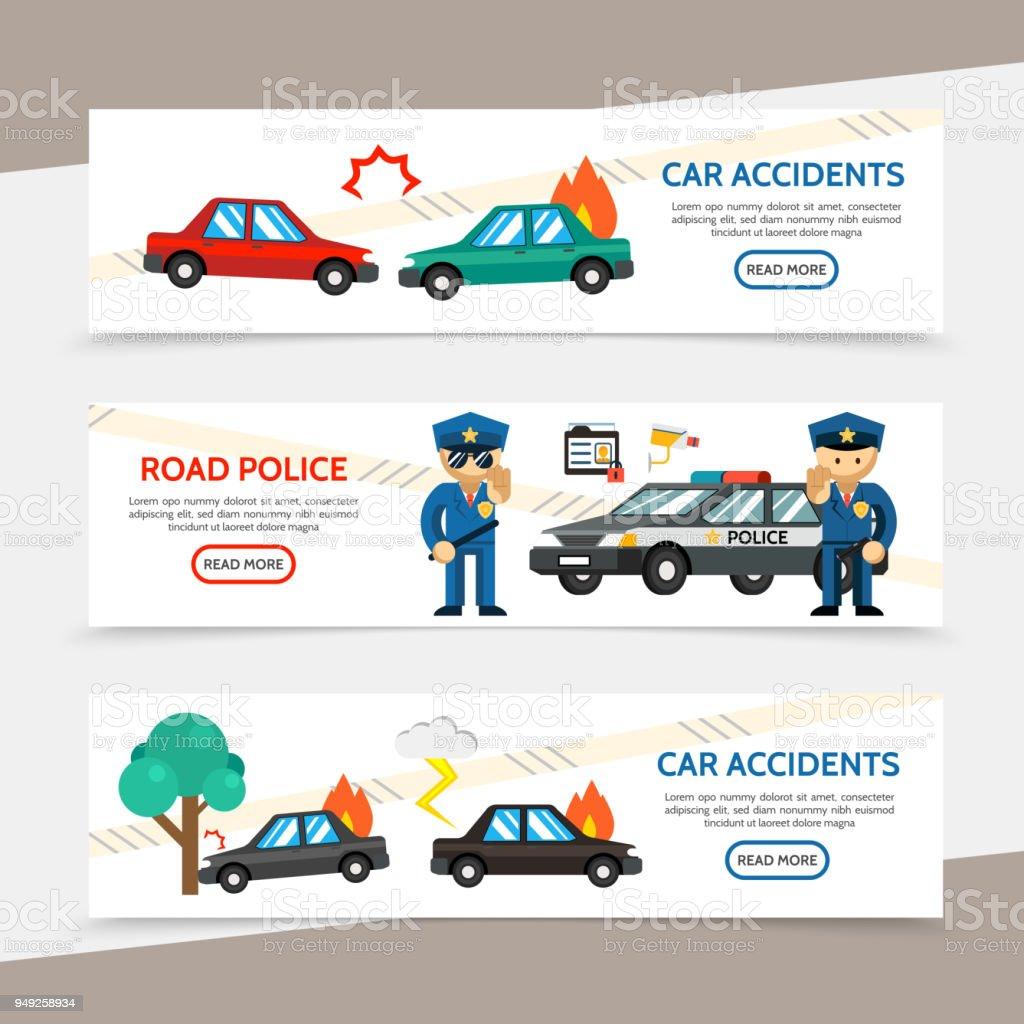 Flache Auto Unfall Horizontale Banner Stock Vektor Art und mehr ...
