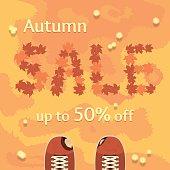 Flat autumn sale vector banner, poster, flyer template