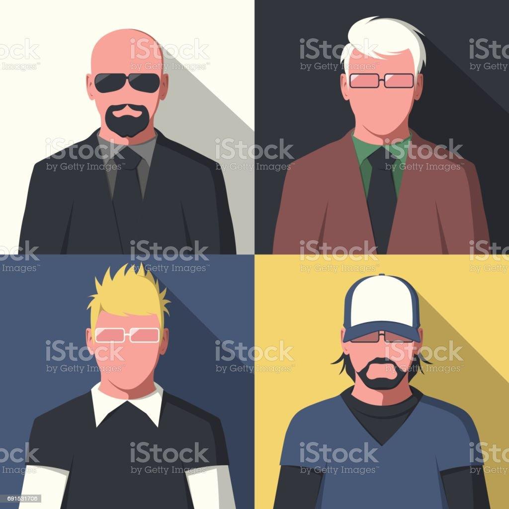Flat avatar portraits vector art illustration