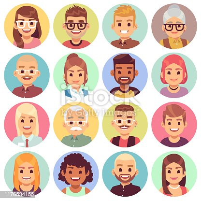 Flat avatars. Different portraits of men and women diverse ages. Professional team faces. Office workers cartoon vector person characters for web social app profile