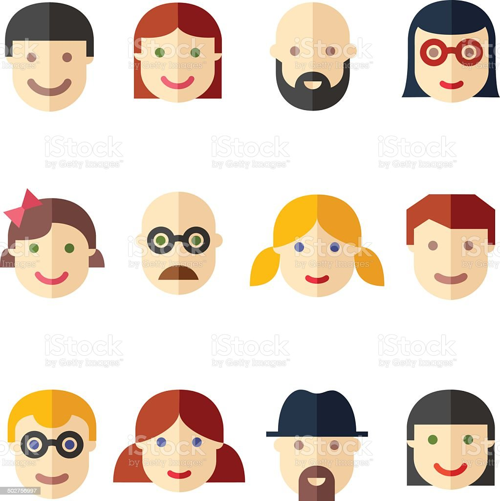 flat avatars faces people icons stock vector art & more images of