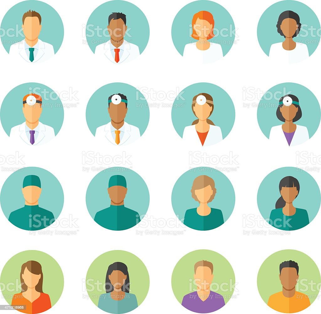 Flat avatars of doctors and patients for medical forum vector art illustration