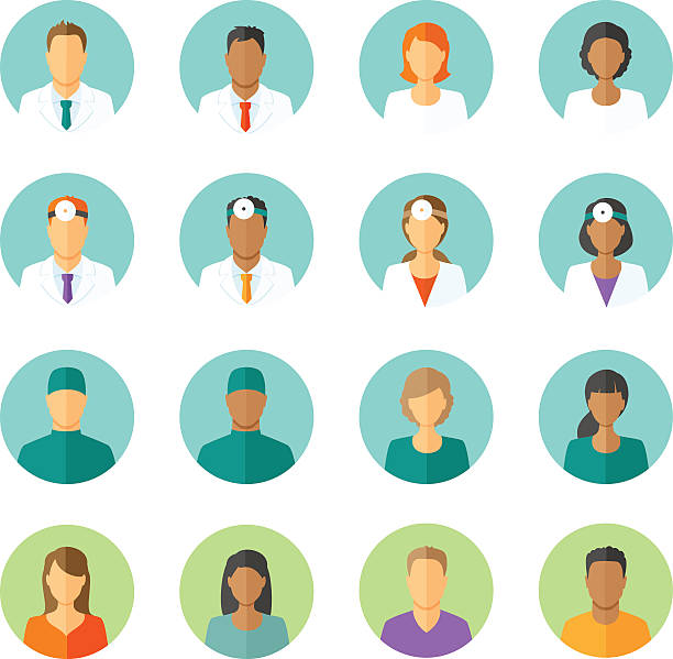 Flat avatars of doctors and patients for medical forum Set of round avatars different medical stuff like general doctor, therapist, surgeon and otolaryngologist. Also icons of patients for medical forum doctor and patient stock illustrations