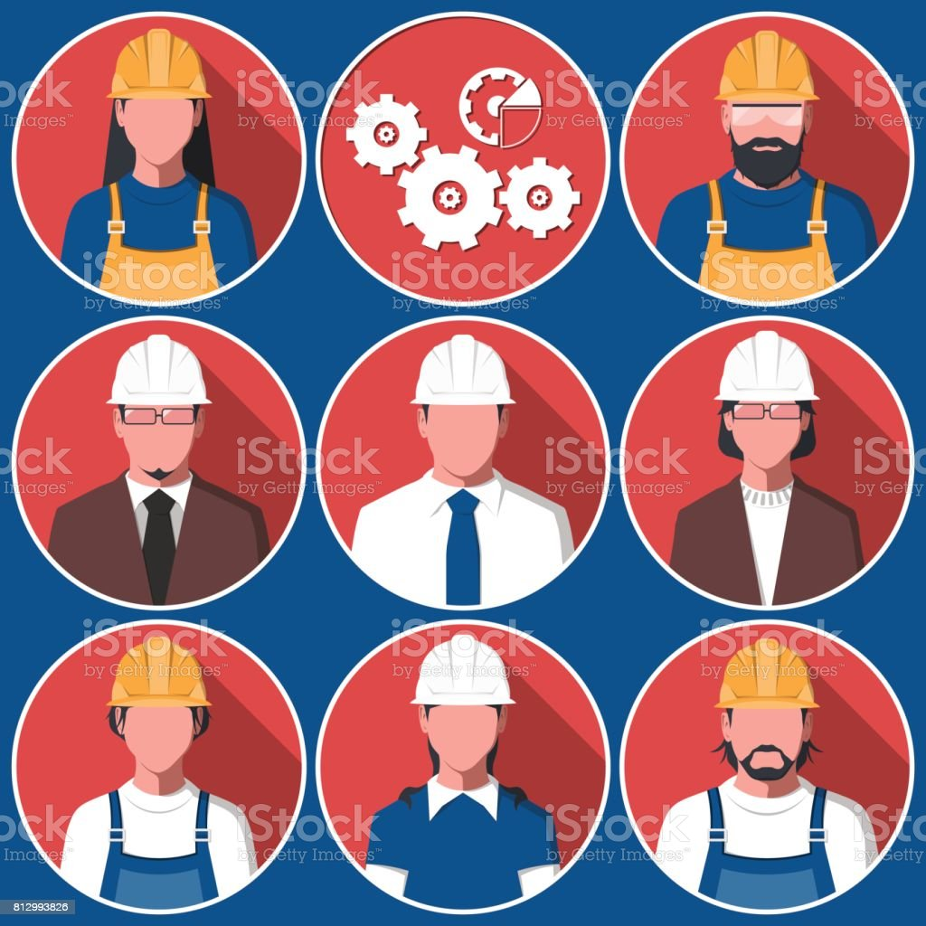 Flat avatars of engineering workers vector art illustration