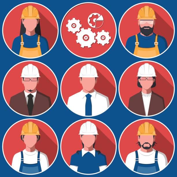 flache avatare der technischen arbeiter - bauarbeiter stock-grafiken, -clipart, -cartoons und -symbole