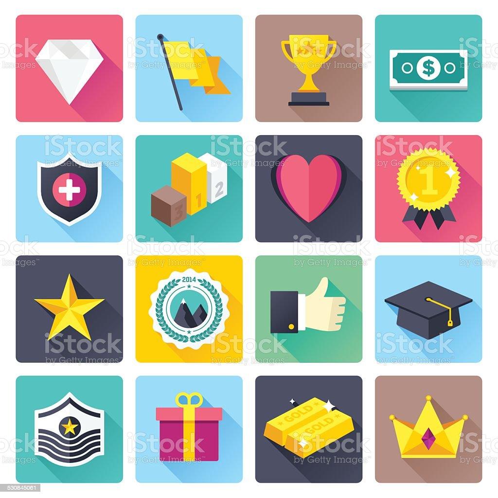 Flat Award Icons vector art illustration