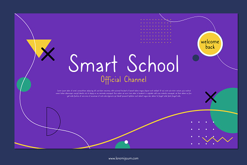 Flat back to school social media channel art template. Geometric shapes and colorful background.