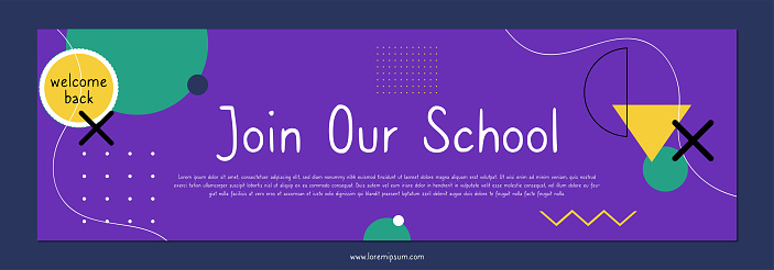 Flat back to school twitch banner template. Geometric shapes and colorful background.