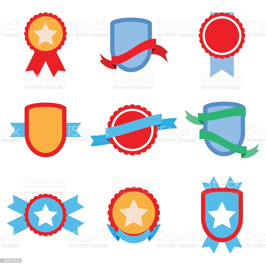 Flat badge set royalty-free flat badge set stock vector art & more images of abstract