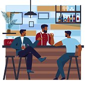 Flat Banner Club Beautiful and Well-groomed Men.  Men Sit at the Bar in an Expensive Hair Salon and Drink Alcoholic Beverages. Bartender Pours Cocktails to Visitors. Vector Illustration.