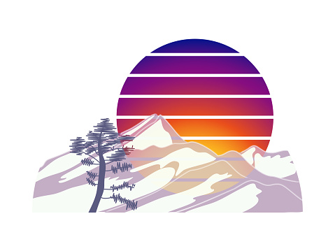 Flat banner design with abstract mountains, pine tree and gradient sun on white background.