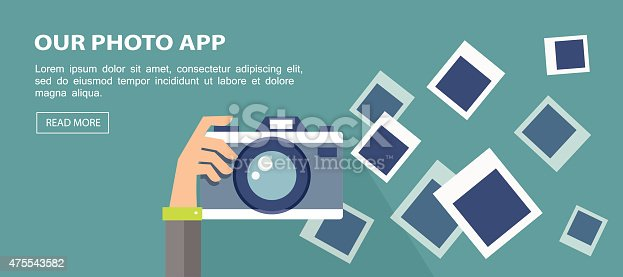 istock Flat banner. Illustration of hand holding camera with frames. 475543582