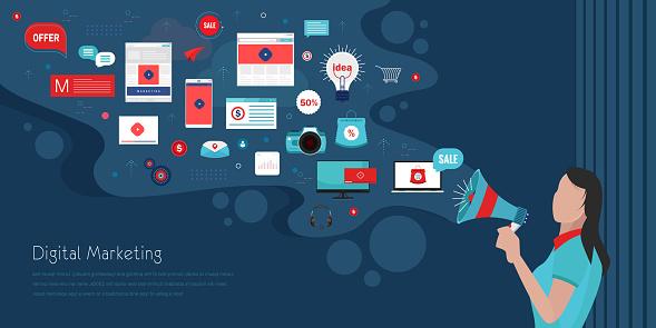 Flat Banner Inscription Digital Marketing stock illustration