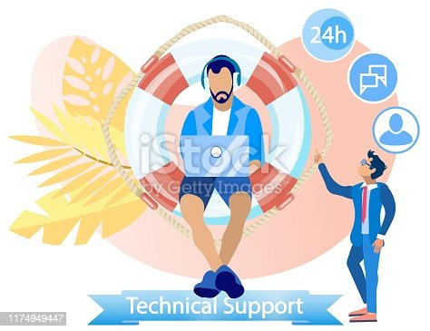 Flat Banner Inscription Technical Support Cartoon. Willingness to Undergo Internal Training.  Guy in Everyday Clothes Sits on Big Lifebuoy and Speaks on Phone. Vector Illustration.