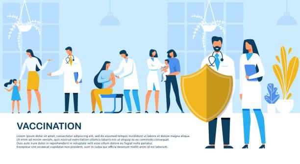 ilustrações, clipart, desenhos animados e ícones de vacinação da inscrição da bandeira lisa, desenhos animados. - doctors