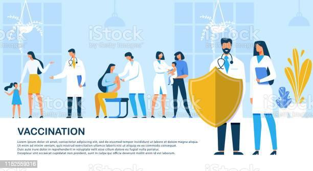 フラットバナー碑文予防接種漫画 - イラストレーションのベクターアート素材や画像を多数ご用意